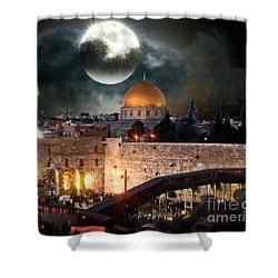 Full Moon At The Dome Of The Rock Shower Curtain