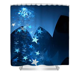 Shower Curtain featuring the digital art Starry Night by GJ Blackman
