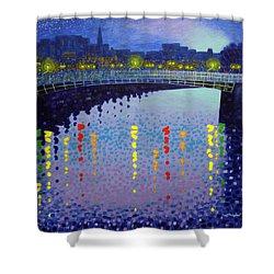 Starry Night In Dublin Half Penny Bridge Shower Curtain by John  Nolan