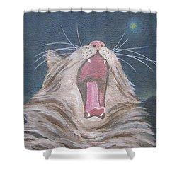 Starry Night Kitty Yawn Bright Shower Curtain