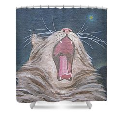 Starry Night Kitty Yawn Bright Shower Curtain