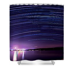 Starry Night On Cayuga Lake Shower Curtain by Paul Ge