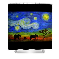 Starry Night Over Africa Shower Curtain
