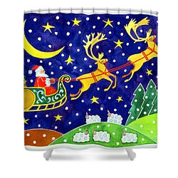 Stars And Snowfall Shower Curtain by Cathy Baxter