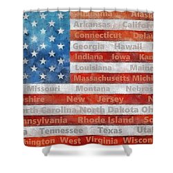 Stars And Stripes With States Shower Curtain
