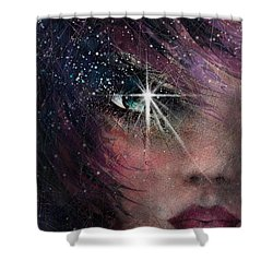 Stars In Her Eyes Shower Curtain by Rachel Christine Nowicki