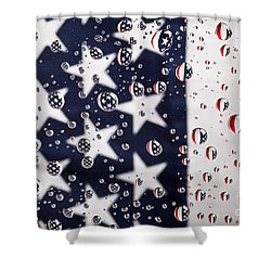 Stars Stripes And Water Drops Shower Curtain by Sharon Dominick