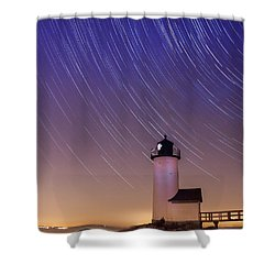 Shower Curtain featuring the photograph Stars Trailing Over Lighthouse by Jeff Folger