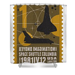 Starschips 01-poststamp - Spaceshuttle Shower Curtain by Chungkong Art