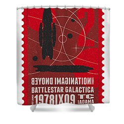 Starschips 02-poststamp - Battlestar Galactica Shower Curtain by Chungkong Art