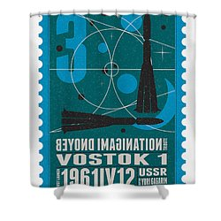 Starschips 03-poststamp - Vostok Shower Curtain by Chungkong Art
