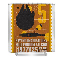 Starschips 05-poststamp -star Wars Shower Curtain by Chungkong Art