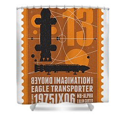 Starschips 13-poststamp - Space 1999 Shower Curtain by Chungkong Art