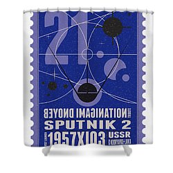 Starschips 21- Poststamp - Sputnik 2 Shower Curtain by Chungkong Art