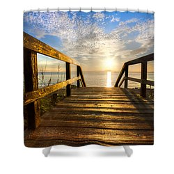 Start Of The Day Shower Curtain by Debra and Dave Vanderlaan