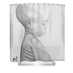 Starved African Girl Shower Curtain by Justin Moore