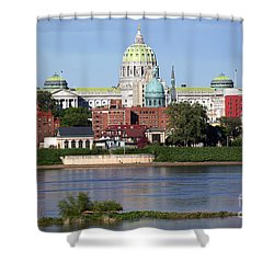 State Capitol Building Harrisburg Pennsylvania Shower Curtain by Bill Cobb