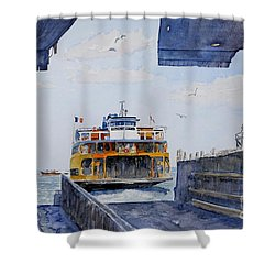 Staten Island Ferry Docking Shower Curtain by Anthony Butera