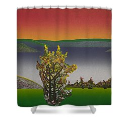Static  View. Shower Curtain by Jarle Rosseland