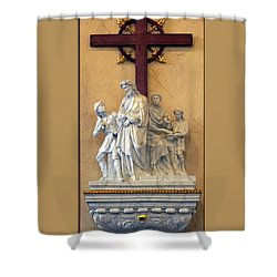 Station Of The Cross 01 Shower Curtain by Thomas Woolworth