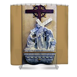 Station Of The Cross 06 Shower Curtain by Thomas Woolworth