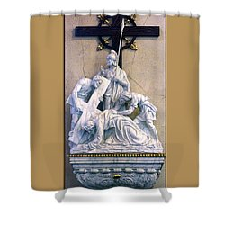 Station Of The Cross 07 Shower Curtain by Thomas Woolworth