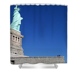 Statue And Sky Shower Curtain by Katie Beougher