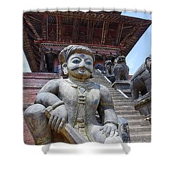 Statue At The Nyatapola Temple At Bhaktapur In Nepal Shower Curtain by Robert Preston