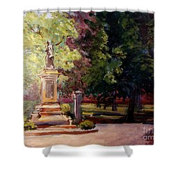 Statue In  Landscape Shower Curtain
