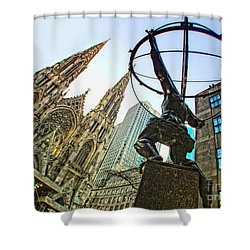 Statue Of Atlas Facing St.patrick's Cathedral Shower Curtain by Nishanth Gopinathan