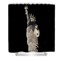 Shower Curtain featuring the photograph Statue Of Liberty After Midnight by Ivete Basso Photography