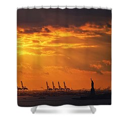 Statue Of Liberty At Sunset. Shower Curtain