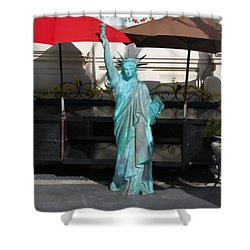 Statue Of Liberty At The Market Shower Curtain by Dan Sproul