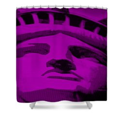 Statue Of Liberty In Purple Shower Curtain by Rob Hans