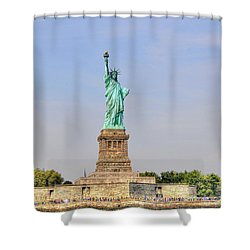 Statue Of Liberty Macro View Shower Curtain by Randy Aveille