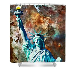 Statue Of Liberty - She Stands Shower Curtain by Sharon Cummings