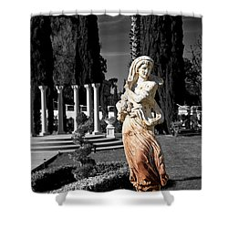 Statue On Mansion Shower Curtain