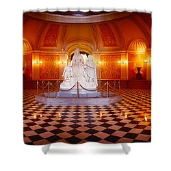 Statue Surrounded By A Railing Shower Curtain by Panoramic Images