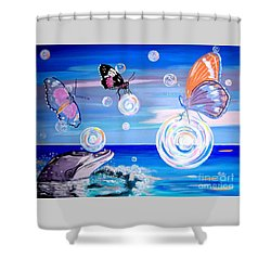Stay And Play Shower Curtain by Phyllis Kaltenbach