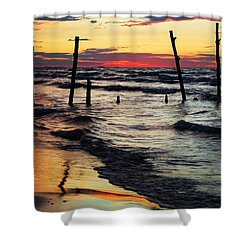 Stay Ashore Shower Curtain by Barbara McMahon