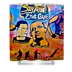 Stay True 2 The Game No 1 Shower Curtain by Tony B Conscious
