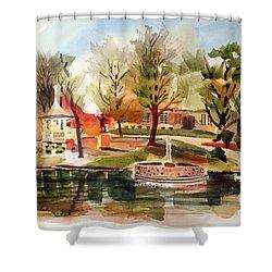 Ste. Marie Du Lac With Gazebo And Pond I Shower Curtain by Kip DeVore