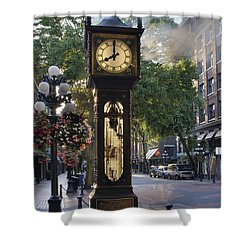 Steam Clock At Gastown Vancouver In The Morning Shower Curtain by Jit Lim