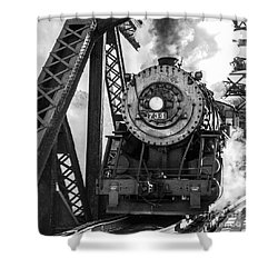 Steam Engine 734 Leaving The Narrows Shower Curtain by Jeannette Hunt