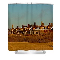 Shower Curtain featuring the photograph Steam Plant In Cymric Field by Lanita Williams