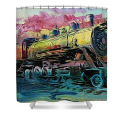 Steam Powered Shower Curtain by Aaron Berg