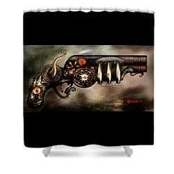 Shower Curtain featuring the digital art Steam Punk Pistol Mk II by Kim Gauge