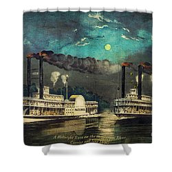 Shower Curtain featuring the digital art Steamboat Racing On The Mississippi by Lianne Schneider