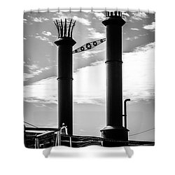 Steamboat Smokestacks Black And White Picture Shower Curtain by Paul Velgos