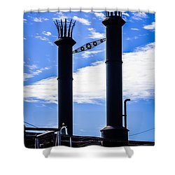Steamboat Smokestacks On The Natchez Steam Boat Shower Curtain by Paul Velgos